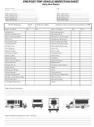 Pre/Post-trip Vehicle Inspection Sheet