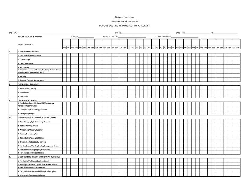 """School Bus Pre-trip Inspection Checklist Template"" - Louisiana Download Pdf"