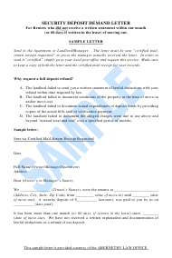 """Sample Security Deposit Demand Letter Template"" - Colorado"