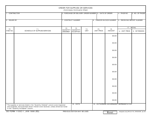 DD Form 1155C-1 Fillable Pdf