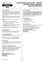 "Form PB057.1312 ""Gastrointestinal Stromal Tumour - Adjuvant Initial Pbs Authority Application"" - Australia"
