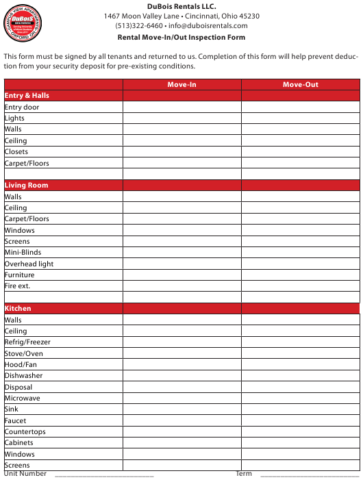 """""""Rental Move-In/Out Inspection Form - Dubois Rentals"""" Download Pdf"""