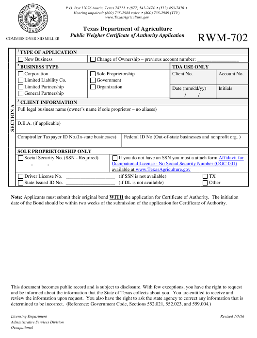 Form RWM-702 Download Printable PDF, Public Weigher