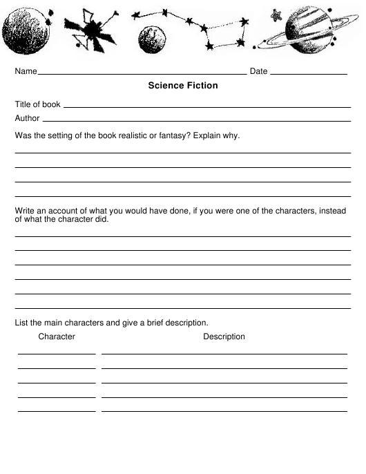 Science Fiction Book Report Template Download Printable Pdf