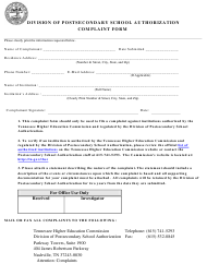 Division of Postsecondary School Authorization Complaint Form - Tennessee