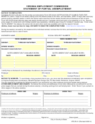 Form VEC-B-31 Statement of Partial Unemployment - Virginia