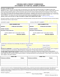 Form VEC-B-31 Statement of Partial Unemployment - Virginia