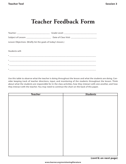 """Teacher Feedback Form"" Download Pdf"