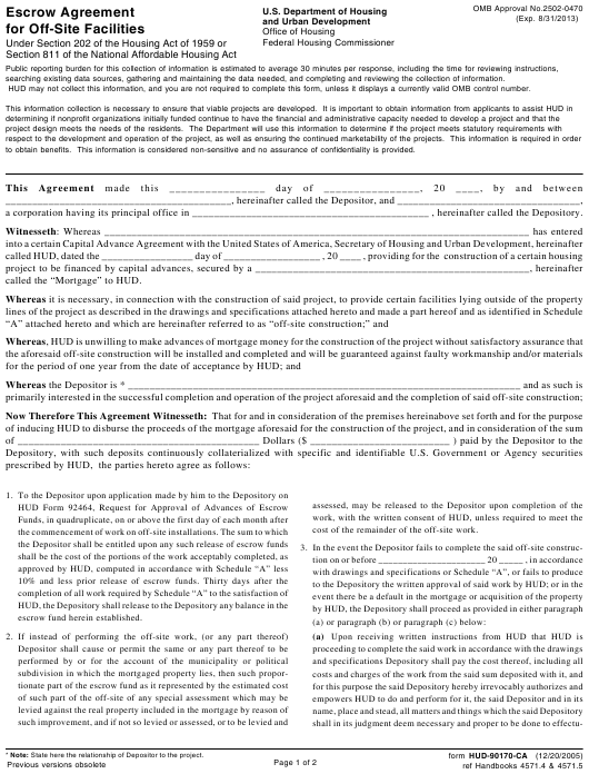 Form HUD-90170-CA Download Printable PDF or Fill Online ...