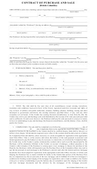 """""""Purchase and Sale Contract Template"""" - British Columbia, Canada"""