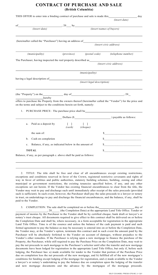 Purchase and Sale Contract Template - British Columbia Canada Download Pdf