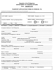 "FA Form NO. 79 ""Passport Application Form - Jakarta Pe"" - Philippines"
