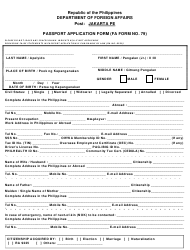 FA Form NO. 79 Passport Application Form - Jakarta Pe
