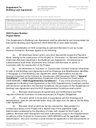 "Form HUD-92441M-SUPP ""Supplement to Building Loan Agreement"""