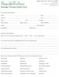 Massage Therapy Intake Form - Raya Wellness - New York