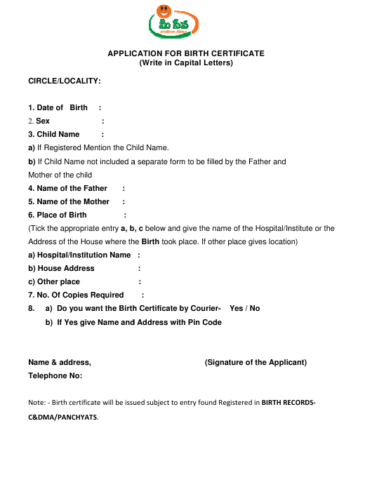 """""""Birth Certificate Application Form"""" - India Download Pdf"""