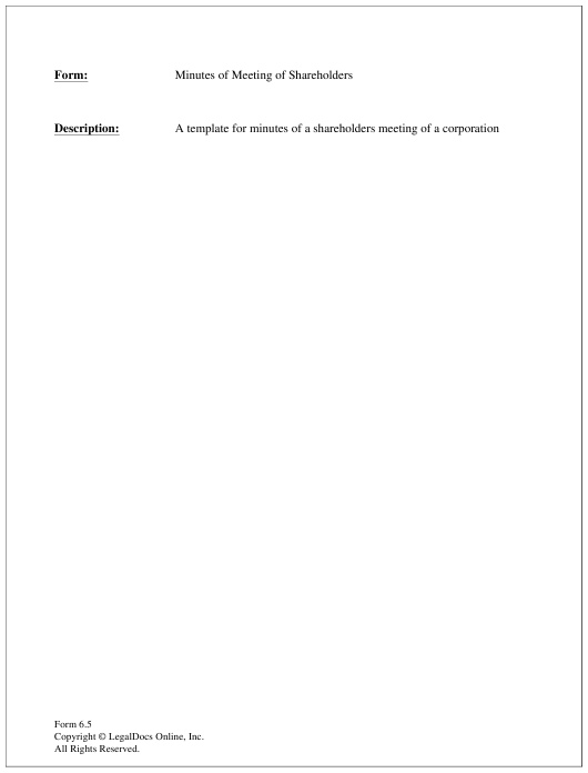 Minutes Of Shareholders Meeting Form Download Printable Pdf