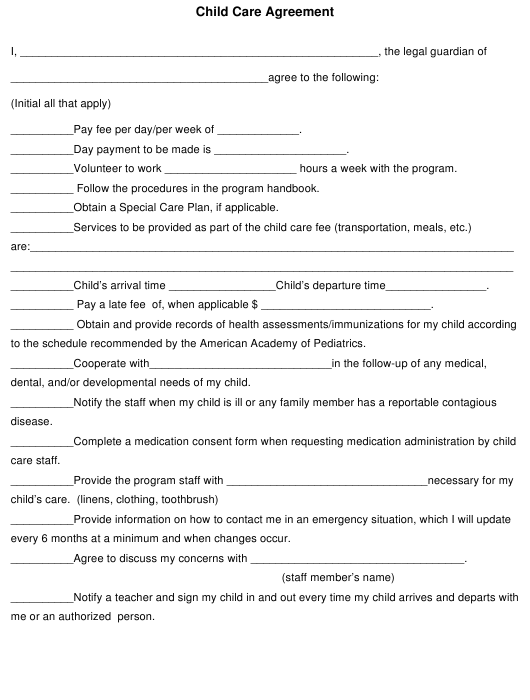 Child Care Agreement Form Download Pdf