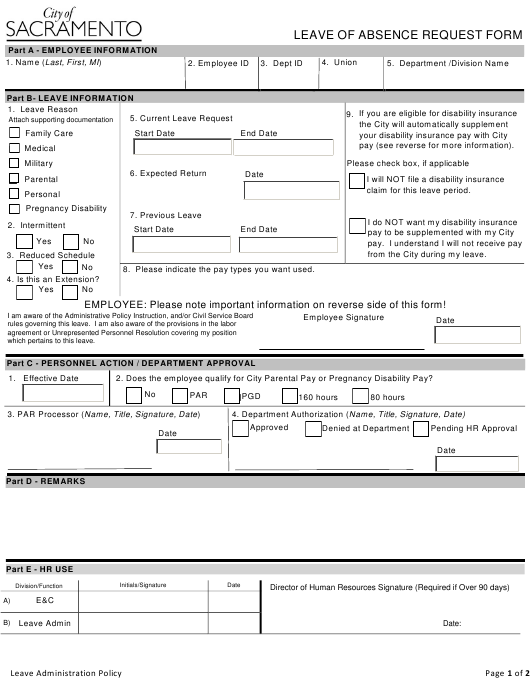 """Leave of Absence Request Form"" - Sacramento, California Download Pdf"