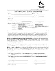 """Staff Request for Leave of Absence Form - Santa Clara University"" - California"