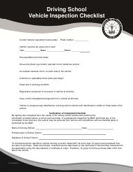 Driving School Vehicle Inspection Checklist - Indiana