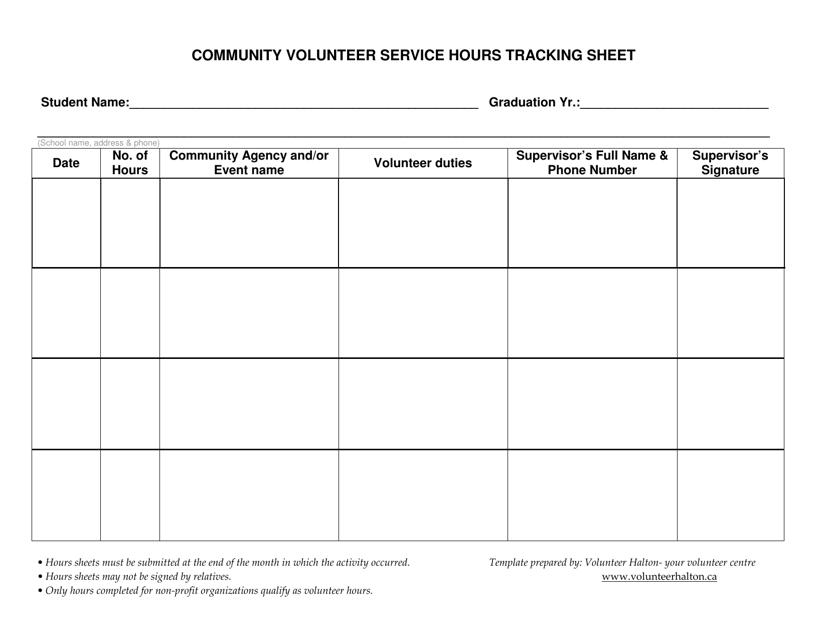 volunteer hours tracking sheet download printable pdf