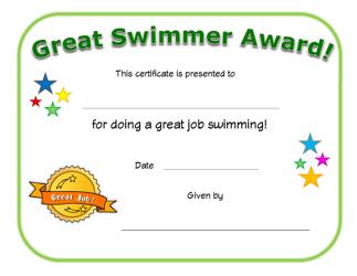 """Great Swimmer Award Certificate Template"""