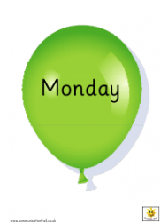 Balloon Days Of The Week Cards