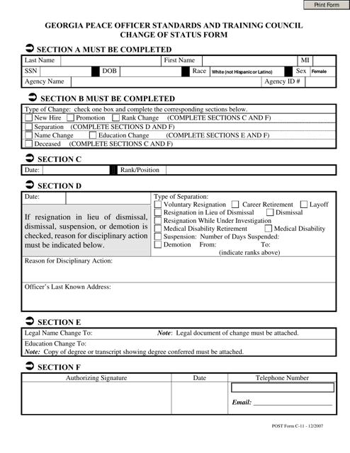 """Change of Status Form"" - Georgia (United States) Download Pdf"
