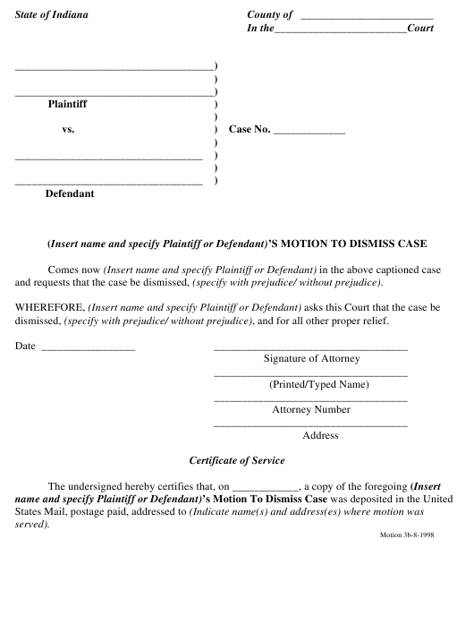 """Motion to Dismiss Case Form"" - Indiana Download Pdf"
