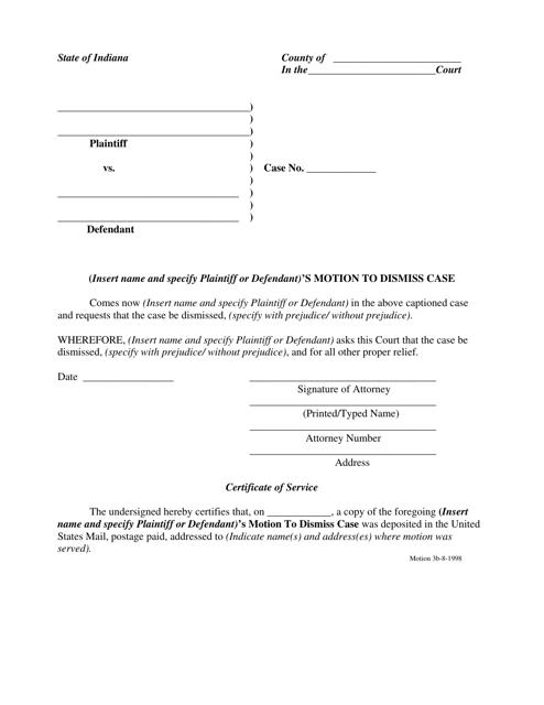 Motion to Dismiss Case Form - Indiana Download Pdf