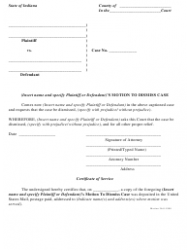 Motion to Dismiss Case Form - Indiana
