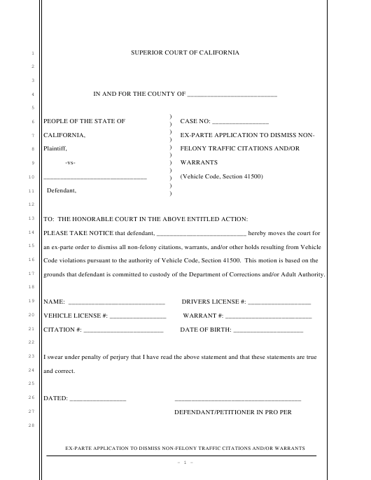 """Ex-parte Application to Dismiss Non-felony Traffic Citations and/Or Warrants"" - California Download Pdf"