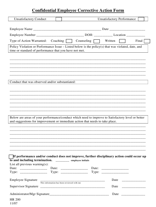 """Confidential Employee Corrective Action Form"" Download Pdf"