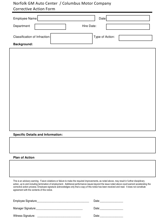 Corrective Action Form - Norfolk Gm Auto Center/Columbus Motor Company Download Pdf