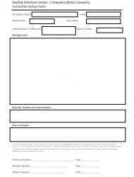 Corrective Action Form - Norfolk Gm Auto Center/Columbus Motor Company