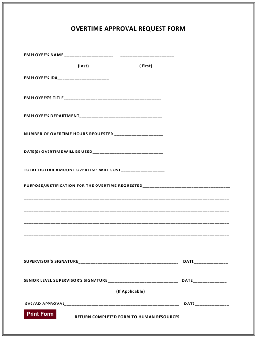 """""""Overtime Approval Request Form"""" Download Pdf"""