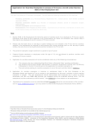 Application for Overtime Exemption in Excess of 72 Hours a Month Under Section 38(5) of the Employment Act - Singapore