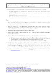 Application for Overtime Exemption in Excess of 72 Hours a Month Under Section 38(5) of the Employment Act