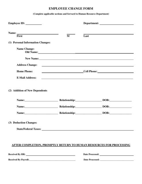 Employee Change Form Download Pdf