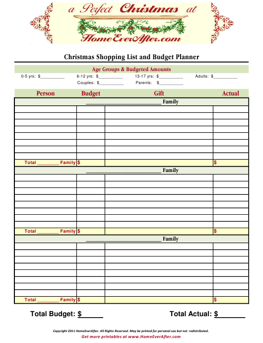 """""""Christmas Shopping List and Budget Planner Template"""" Download Pdf"""
