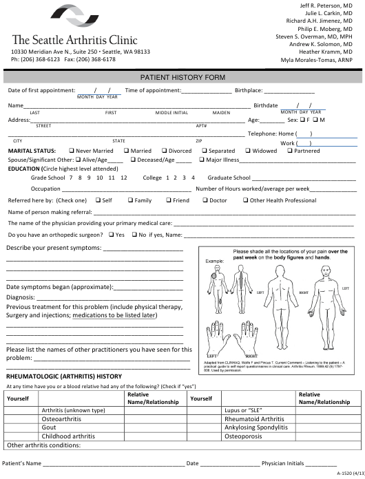 """Patient Medical History Form - the Seattle Arthritis Clinic"" Download Pdf"