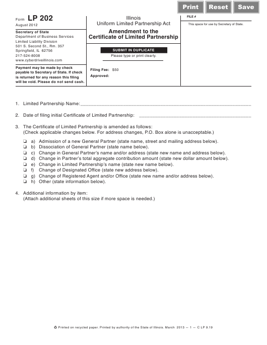 Form LP202  Printable Pdf
