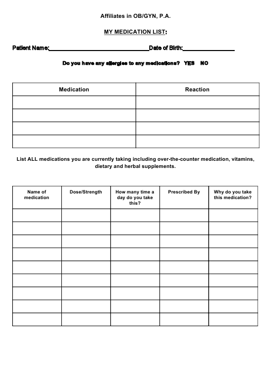 Personal Medication List Template Download Printable Pdf