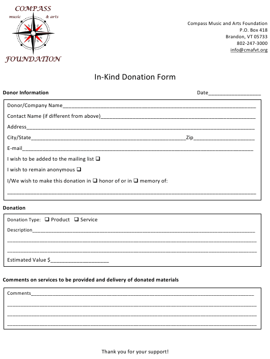 """""""In-kind Donation Form - Compass Music and Arts Foundation"""" Download Pdf"""