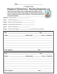 2nd-5th Grade Reading Response Log
