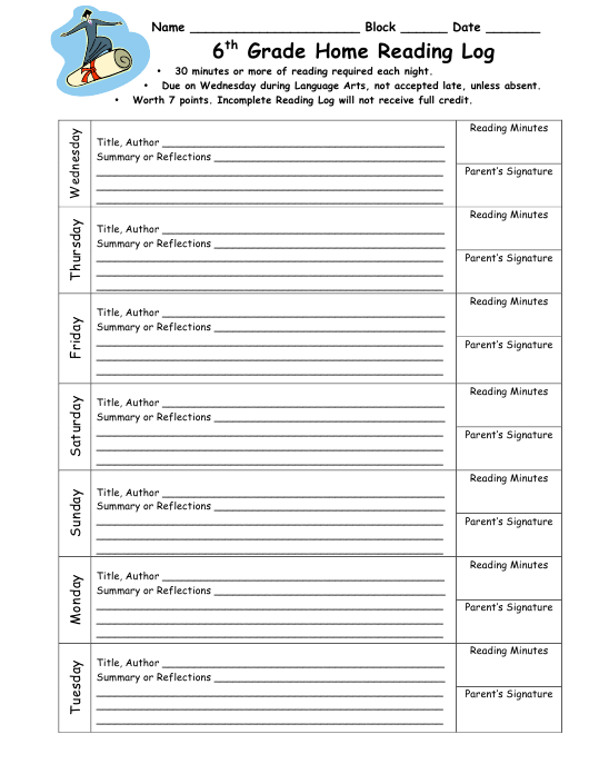 """6th Grade Home Reading Log"" Download Pdf"