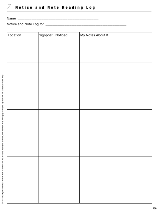 """Notice and Note Reading Log Template"" Download Pdf"