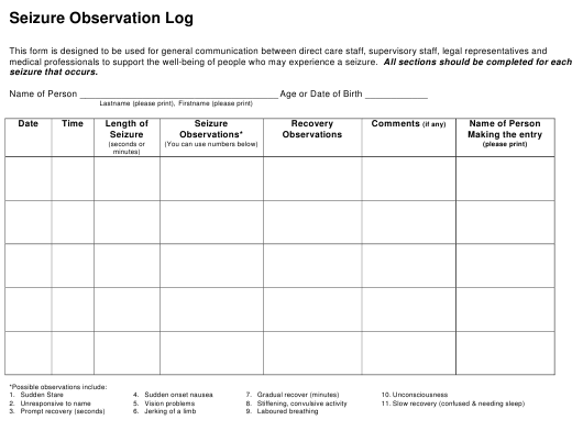 seizure observation log download printable pdf