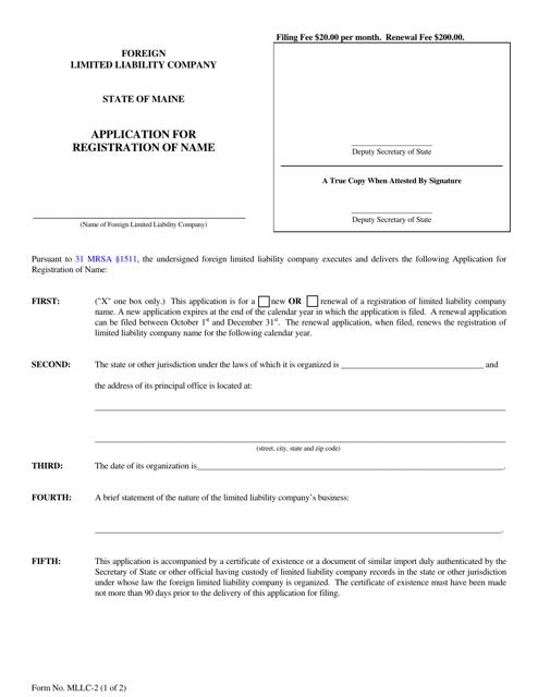 Form MLLC-2  Printable Pdf